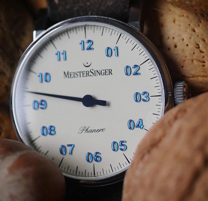 MeisterSinger - Phanero Blaue Ziffern Einzeiger Damenuhr