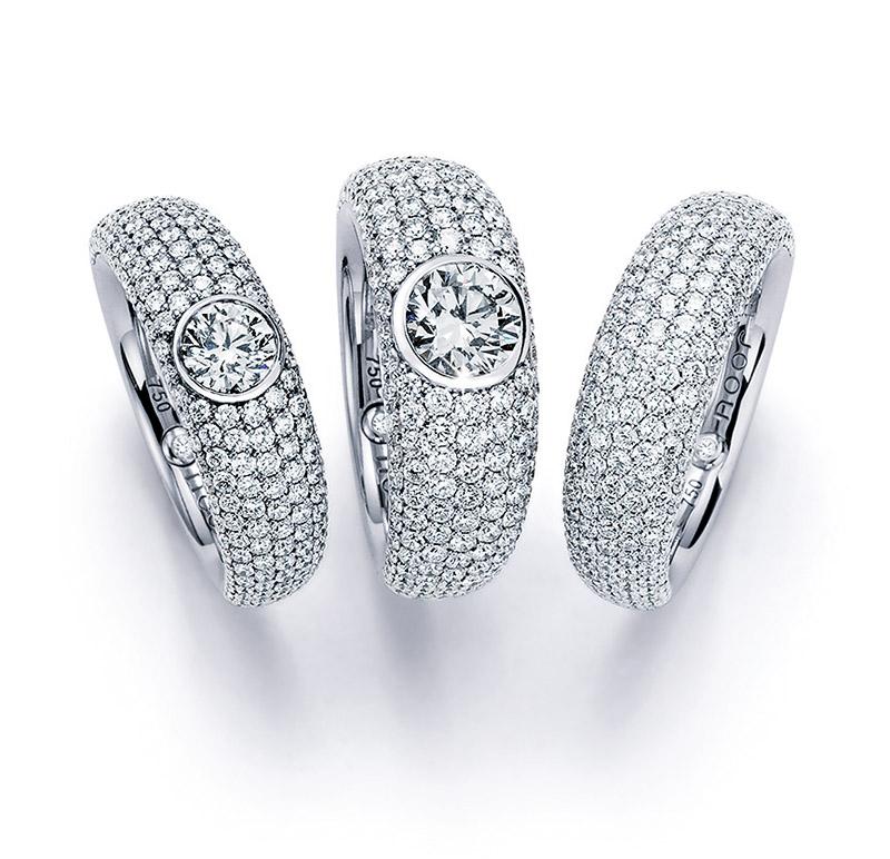 Noor - Verlobungsring 18 kt Weißgold Ringe mit weißem Diamantpavé