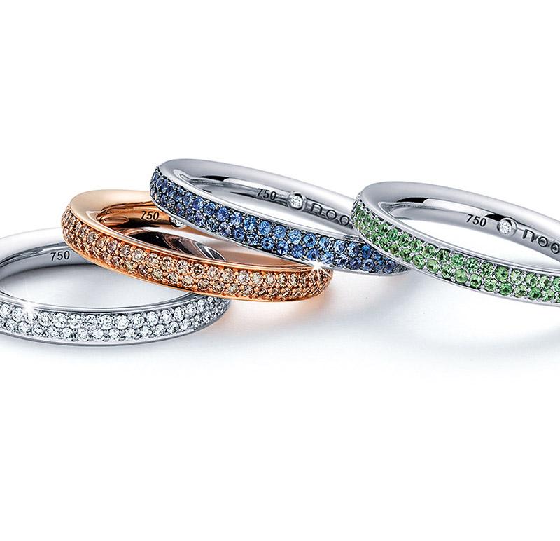 Noor - Weiß- oder Roségold Ringe mit Farbsteinen