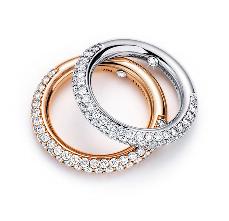 Noor - 18 kt Weiß- oder Roségold Ringe mit weißem oder braunem Diamantpavé ca. 1,35 ct